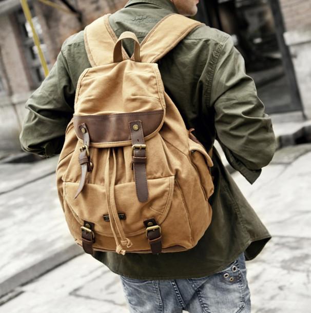 bag, backpack, vintage, indie, hipster, old school, brown, canvas ...