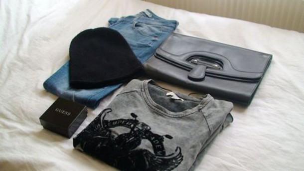 t-shirt bag clutch beanie jeans fashion hair accessory