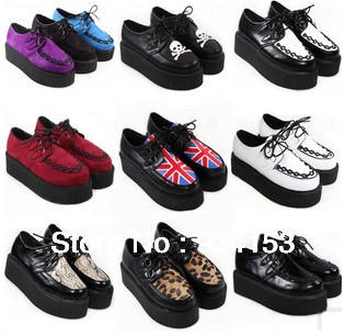 2013 Fashion Black Suede British Goth Punk Creepers Flats Hot Sale Lace up Skull American USA Flag Boat Shoes Summer Autumn-in Boat Shoes from Shoes on Aliexpress.com