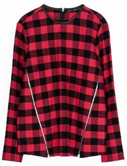 Red Black Plaid Long Sleeve Zipper Slim Blouse - Sheinside.com