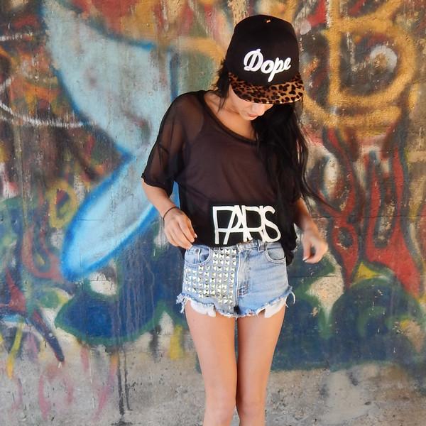 shorts studded shorts High waisted shorts denim jeans denim shorts t-shirt shirt top snapback hat