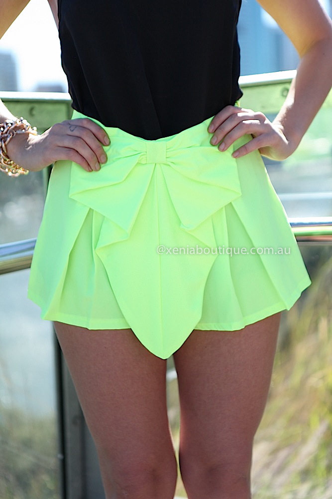 BOW SHORTS   , DRESSES, TOPS, BOTTOMS, JACKETS & JUMPERS, ACCESSORIES, SALE, PRE ORDER, NEW ARRIVALS, PLAYSUIT, COLOUR,,SHORTS,Yellow Australia, Queensland, Brisbane