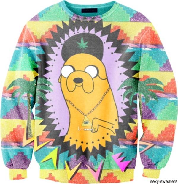 shirt adventure time sweater sweater adventure time trippy jake weed yellow weed marijuana leaves smoke colorful illuminati