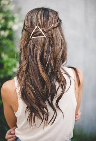 hair accessory triangle brown hair brunette dye hair dye beautiful pretty braid hair fashion fashion hairstyles metal hair pin