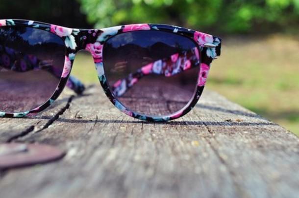 sunglasses flowers floral summer pink blue black ray ban sunglasses floral sunglasses