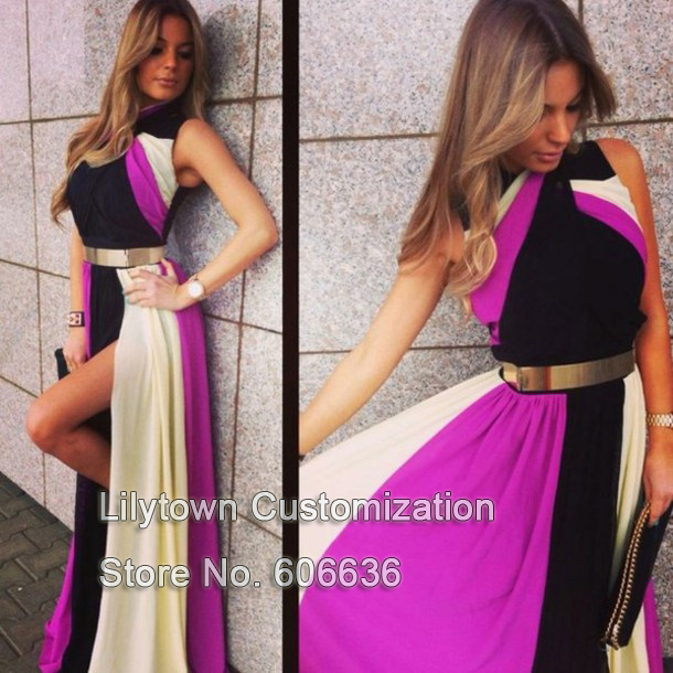 Clorful Long Dresses Metal Belt Multicolor Split Evening Dress Special Occasion  Free Shipping Party Wear Good Quality-in Evening Dresses from Apparel & Accessories on Aliexpress.com
