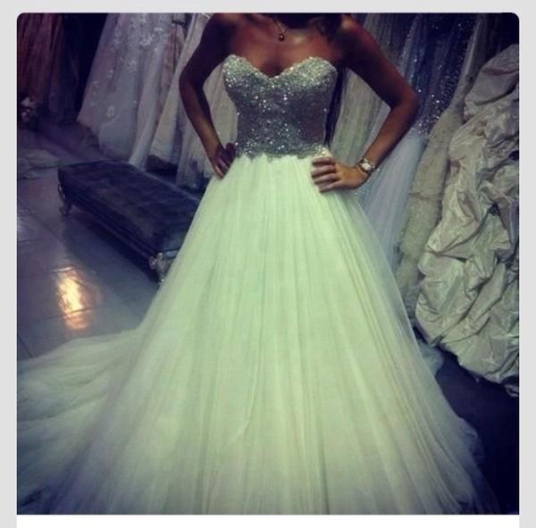 dress wedding dress princess wedding dresses princess dress white dress glitter jewels sequins silver silver glitter