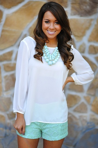 shorts cute south jewels blouse shirt white blouse
