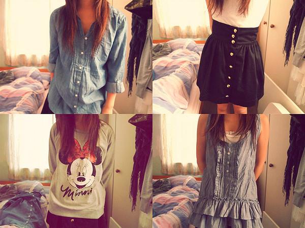 skirt minnie mouse sweater denim high waisted skirt button up blouse