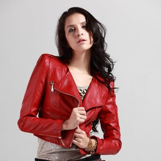 jacket red leather zip
