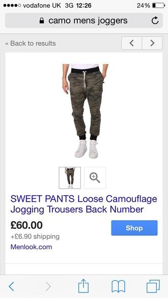 pants sweatpants joggers swag camouflage camo pants style casual black green mens white lounge pants fashion menswear