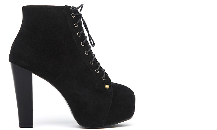 Womens Lace Up Faux Suede Square Toe Thick Heels Platform Ankle Boots Shoes 1kh | eBay