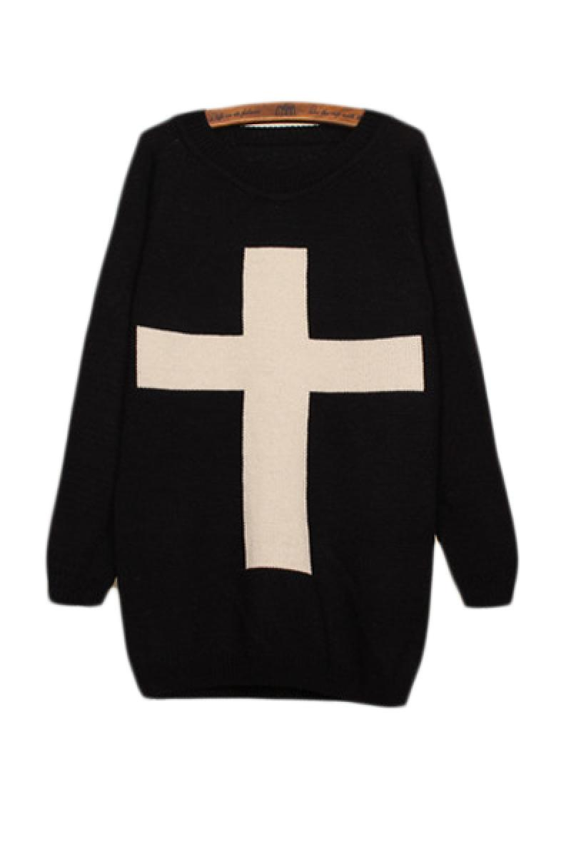 Individual Big Cross Contrast Color Joint Round-neck Sweater,Cheap in Wendybox.com