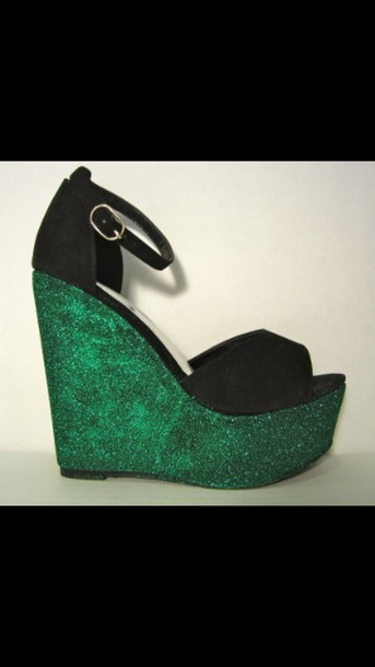 shoes wedges glitter wedges glitter green black and green shoes