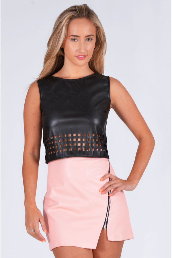 top ustrendy top ustrendy cut out top cut out hem leather top leather faux leather trendy ootn