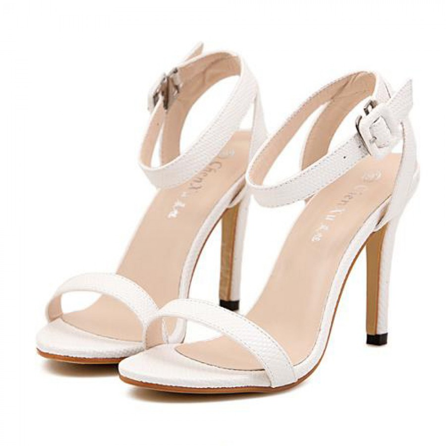 White Snakeskin Effect Strappy High Heel Sandals