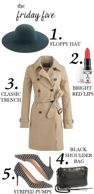 m loves m blogger trench coat floppy hat red lipstick stilettos