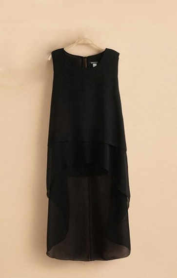 Black Hollow-out Swallow-tailed Hem Sleeveless Dress