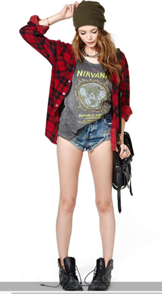 hat clothes warped tour warped vans jacket red green nirvana tank top grunge purse jeans outfit cute t-shirt shorts shirt shoes flannel shirt nirvana t-shirt
