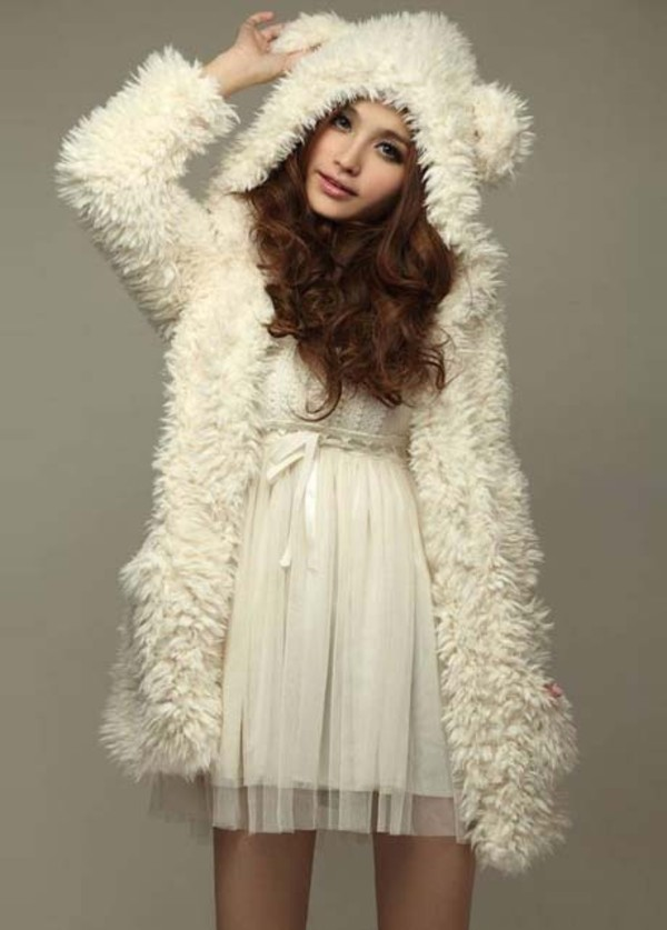coat bear ear clothes top fashion dress jacket cute