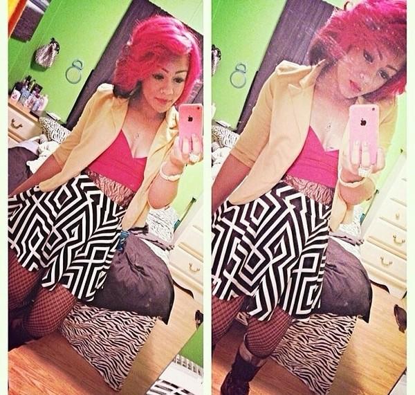 skirt dressy black and white tribal pattern girly
