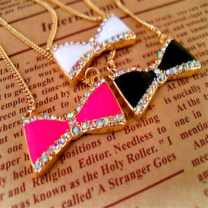 Enamel and Crystal Bow Chain Necklace 50s Retro Multiple Choices   eBay