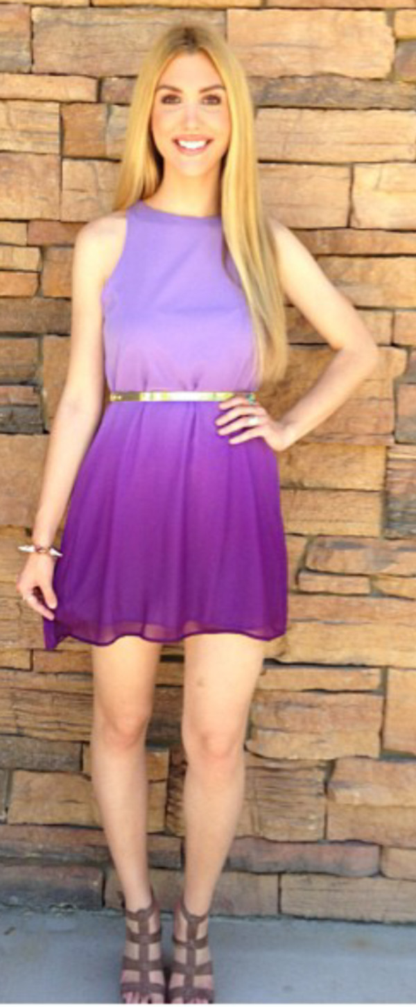 dress ombre purple short