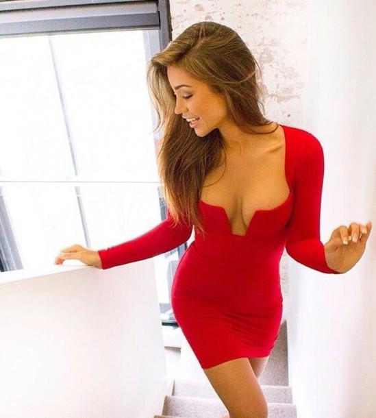 dress red dress v neck dress v neck short dress short little black dress