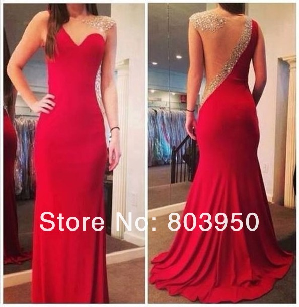 2014 New Fashion Sexy Sheer Scoop Neck With A in layer Sweetheart Crystal Beaded Red Mermaid Chiffon Long Prom Dresses DYQ111-in Evening Dresses from Apparel & Accessories on Aliexpress.com