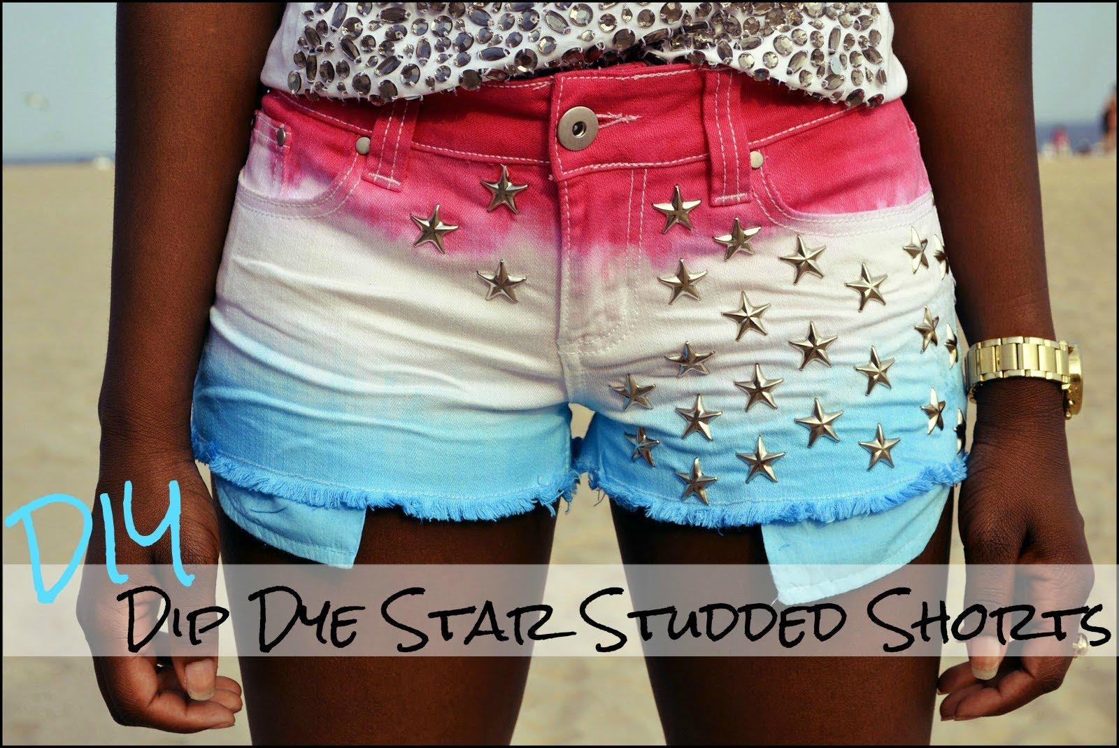 DIY Dip Dye Star Studded Shorts - YouTube