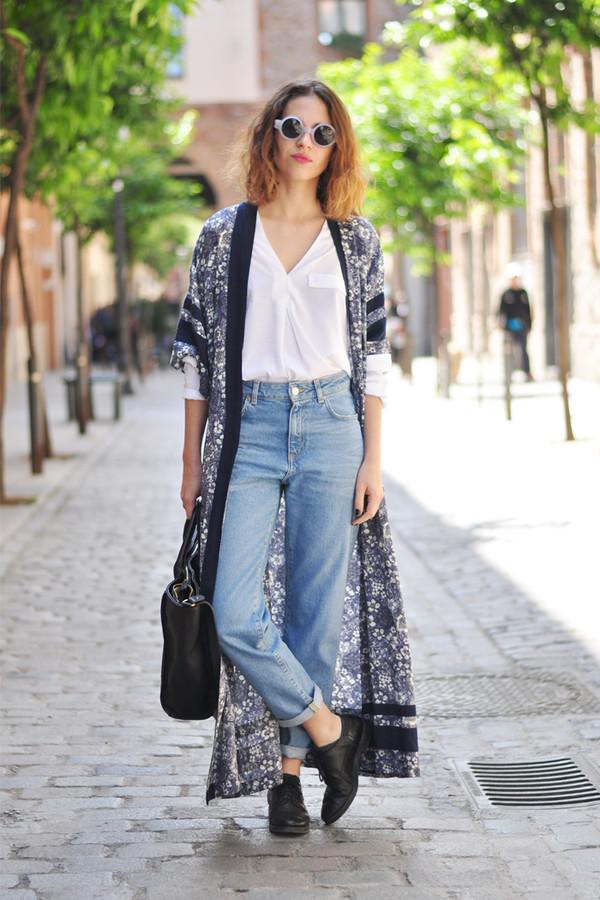 dansvogue blouse jeans sunglasses cardigan