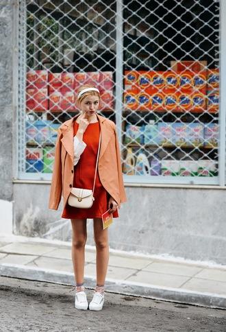 m&m fashion bites blogger dress jacket shoes socks bag gloves blouse skirt red dress crossbody bag sneakers