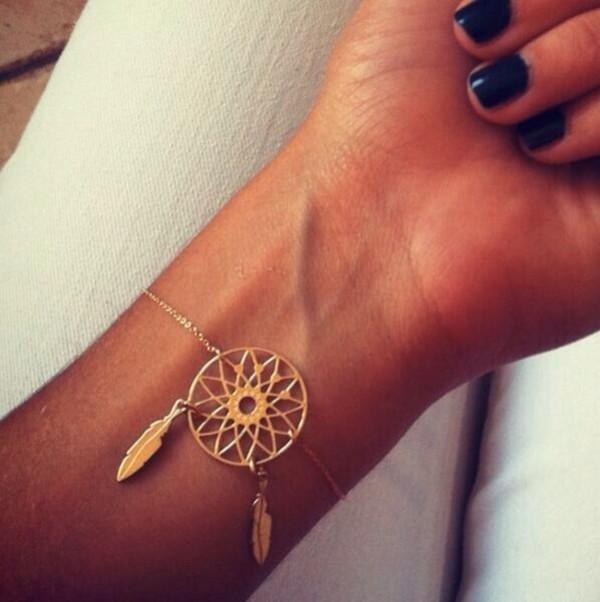 jewels dream catcher bracelet gold bracelets bracelet chains hipster wishlist nail accessories belt gold dream catcher bracelet jewelry fashion style cute dreamcatcher bracelets