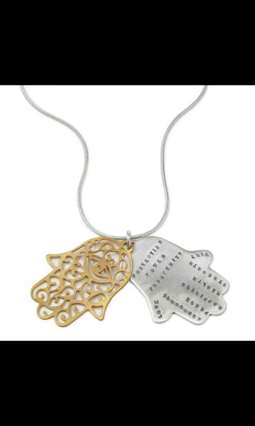 jewels hamsa hand quote on it necklace hippie boho amazing peri.marie