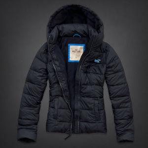 Womens Hollister Lobster Point Fleece Lined Warm Puffer Jacket Navy Sz Med   eBay