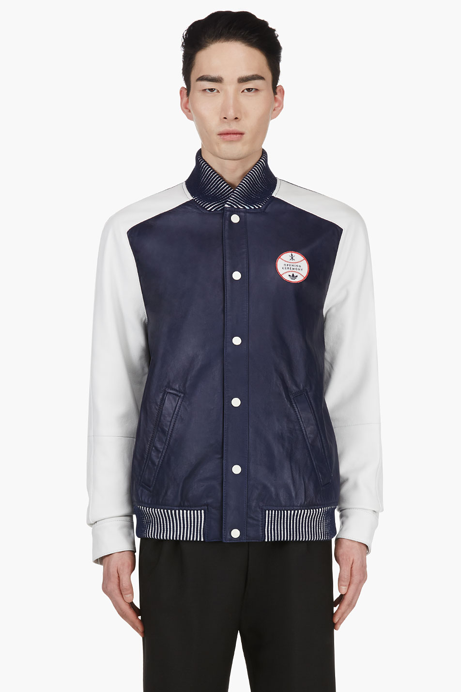 adidas originals x opening ceremony navy leather colorblock varsity jacket