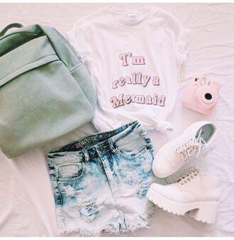 shirt cute pink tumblr sunglasses shorts hair accessory skirt shoes denim shorts ripped shorts the little mermaid mermaid shirt disney princess