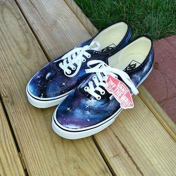 Custom Hand Painted Galaxy Print Vans on Wanelo