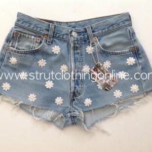 "Strut Clothing     ""Festival Daisy"" Vintage Levi 501 Denim Shorts, High Waist – All Sizes Available"