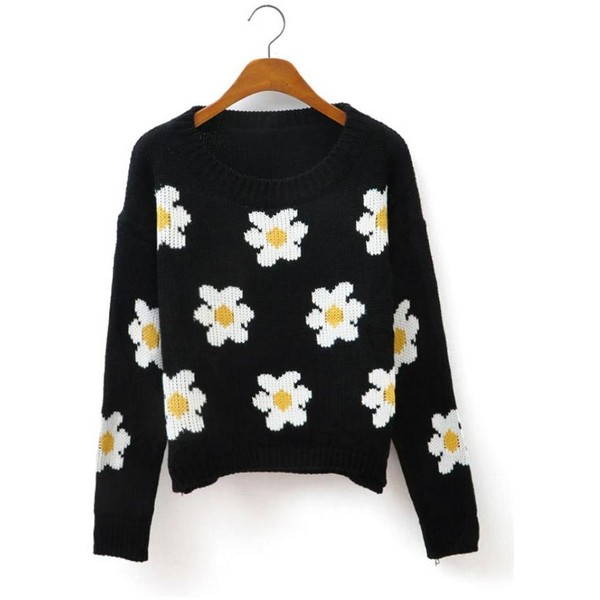 Daisy Print Curved Hem Short Sweater - Polyvore