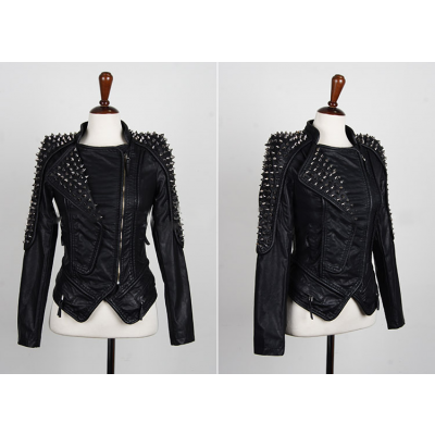 Buy Fashion Clothing -  Rivets Motorcycle Leather Slim Women's Jacket  - Jackets & Blazers - Outwear