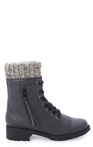 Lace Up Combat Boot with Sweater Cuff