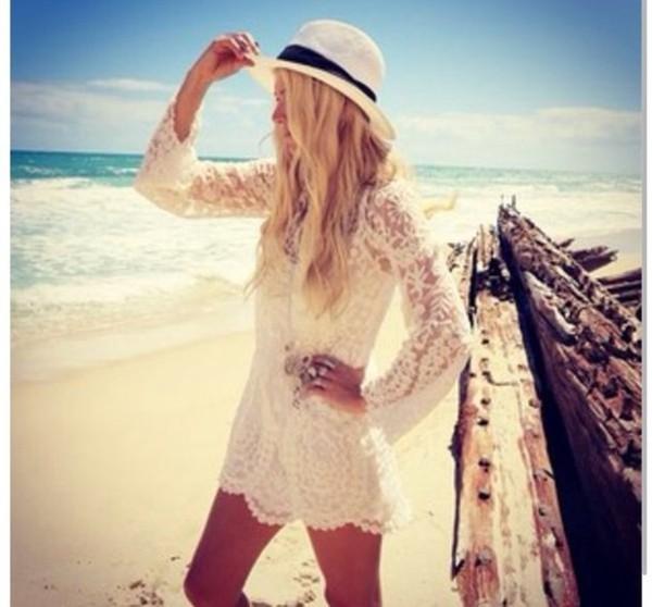 dress white dress lace dress lace boho boho dress hippie