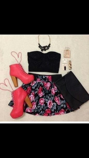 shoes pink shoes floral skirt