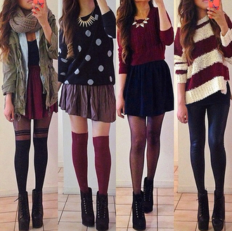 dress shoes skirt pants coat sweater color/pattern red brown black style polka dots short vintage pretty combination fashion right sweater blouse fall outfits army green jacket green outerwear cardigan red and white ootd scarf boots