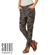 Saint Tropez Drop Crotch Camo Trousers - Army Green   Free Delivery
