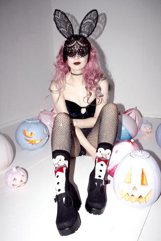 kayla hadlington blogger socks mask sexy halloween accessory sexy halloween costume pink hair bunny ears bunny penguin tights