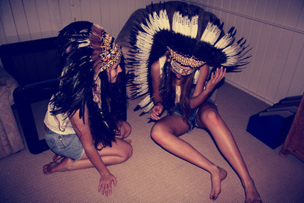 hat indian head dress tribal pattern costume shorts tank top cute