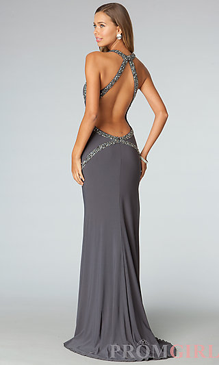 Long Jersey Prom Gowns, Open Back Halter Prom Dresses- PromGirl