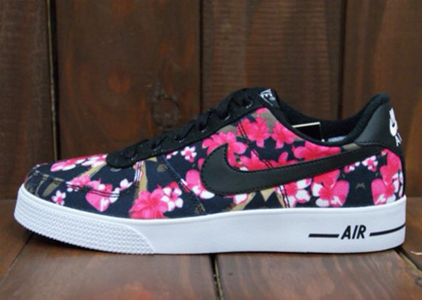 shoes nike air force flowers